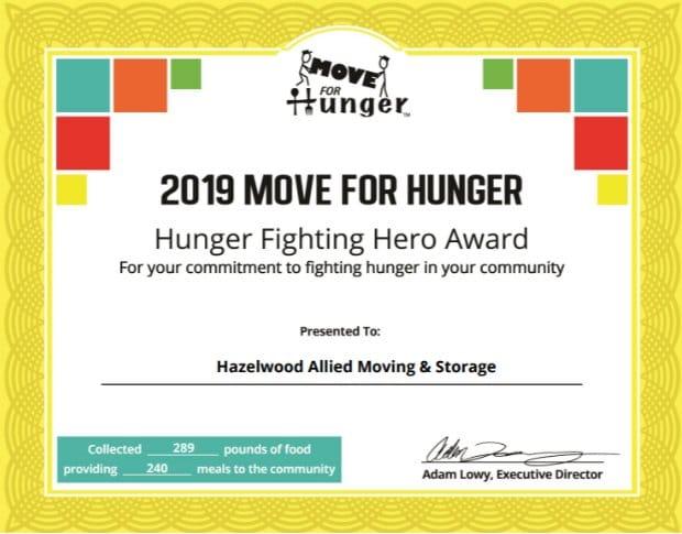 Santa Barbara Moving and Storage Company Awarded Hunger Hero Award